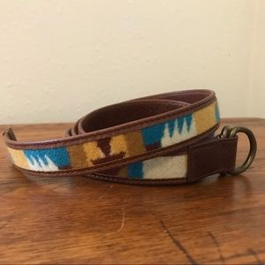 Pendleton leather and wool wrap belt